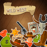 Wild west background with cowboy objects and Royalty Free Stock Photo