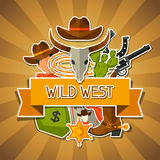 Wild west background with cowboy objects and. Stickers royalty free illustration