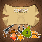 Wild west background with cowboy objects and. Stickers vector illustration