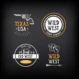 Wild west badges design. Vintage western elements.Vector with gr Stock Photos