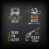 Wild west badges design. Vintage western elements.Vector with gr Royalty Free Stock Photo