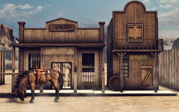 Wild West bank. Colorful Wild West scenery with a horse in front of a bank vector illustration