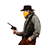 Wild west bank robbery. Bad guy robs bank on white square background Royalty Free Stock Photos