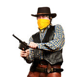 Wild west bank robbery. Bad guy robs bank on white square background Stock Photo
