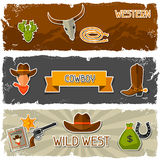 Wild west banners with cowboy objects and stickers.  royalty free illustration