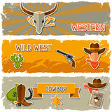 Wild west banners with cowboy objects and stickers Stock Photo