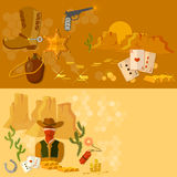 Wild west  banners western cowboy landscape Royalty Free Stock Photography