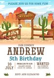 Wild west Birthday party invitation design template. Western poster concept for invitations, greeting cards etc. Cartoon wild west. Illustration vector illustration