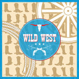 Wild West card with cowboy boots decoration and text Royalty Free Stock Image
