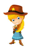 Wild west cartoon cowboy girl with guns - isolated Stock Photography