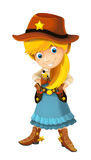 Wild west cartoon cowboy girl with guns - isolated Stock Image