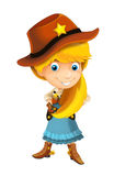 Wild west cartoon cowboy girl with guns - isolated Royalty Free Stock Photos