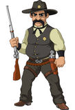 Wild west.  Cartoon sheriff. With shotgun Royalty Free Stock Images