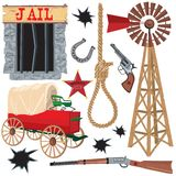 Wild west clip art. Old wild west icons, isolated on white Royalty Free Stock Images