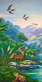 The wild west coast. Painting of New Zealand's West Coast, featuring red deer, swallow, and a tuatara Stock Images