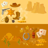 Wild west collection cowboy banners Royalty Free Stock Images