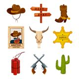 Wild west collection icons. Western illustrations at cartoon style. Boots, guns, cactus and skull Royalty Free Stock Image
