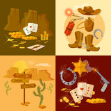 Wild west collection set sheriff cowboy bandit Royalty Free Stock Photography