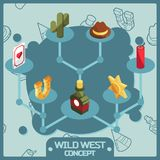 Wild west color isometric concept icons Stock Photo