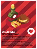 Wild west color isometric concept icons. Vector illustration, EPS 10 Stock Photography