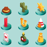 Wild west color isometric icons Royalty Free Stock Photos