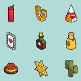 Wild west color outline isometric icons Stock Image