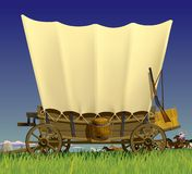 Wild West covered wagon. Raster version of  illustration with a Wild West covered wagon in prairie against the background of a flock of horses Royalty Free Stock Image