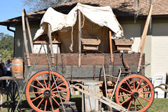 American Wild West Covered Wagon. At the Knap In Prehistoric Arts Festival in Ocala, Florida Stock Photography
