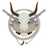 Wild west cow skull, pistols, ribbon, lasso logo Royalty Free Stock Photos