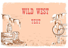 Wild west cowboy background for text. Wild west cowboy background with american clothes and prairies Royalty Free Stock Photography