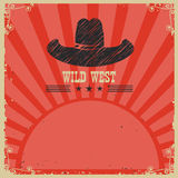 Wild west cowboy background.Vector red card Stock Image