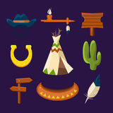 Wild West Cowboy Flat Icons Royalty Free Stock Image