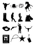 Wild west and cowboy icons Royalty Free Stock Image
