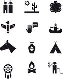 Wild west, cowboy and Indians icon set Stock Photography