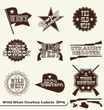Wild West Cowboy Labels and Stickers. Collection of vintage style wild west cowboy labels and stickers Stock Images