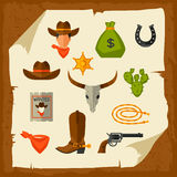 Wild west cowboy objects and design elements Royalty Free Stock Photo