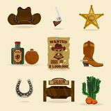 Wild west cowboy objects royalty free illustration
