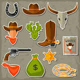 Wild west cowboy objects and stickers set Stock Photography