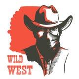 Wild West Cowboy Portrait Man In Bandanna Mask. Vector Western Bandit In Cowboy Hat Stock Photos
