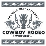 Wild west - cowboy rodeo. Vector emblem. Royalty Free Stock Images