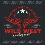 Wild west - cowboy rodeo. Vector emblem. Stock Images