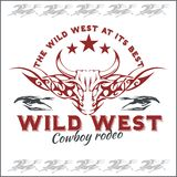 Wild west - cowboy rodeo. Vector emblem. Stock Image