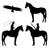 Wild west cowboy set. Wild west theme black and white vector silhouette set - cowboy, horse and eagle design Stock Photos