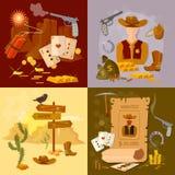 Wild west cowboy set western sheriff bandit. Vector illustration Royalty Free Stock Image