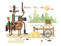 Wild west cowboy. Wild westcowboy and western, sheriff vector illustration Royalty Free Stock Photos