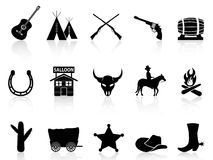 Wild West & Cowboys icons set. Isolated black Wild West & Cowboys icons set on white background Stock Photo