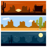 Wild West Desert Banners. Set of three wild west or desert banners, with mountains and cacti. Eps file available