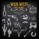 Wild west design sketch. Icons drawing vintage elements. Stock Images