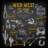 Wild west design sketch. Icons drawing vintage elements. Royalty Free Stock Images