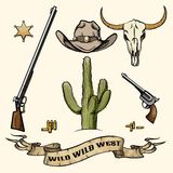 Wild West Elements. Objects of the wild west. Cowboy hat, gun and ammo, cactus and buffalo skull, sheriff badge. Vector illustration royalty free illustration